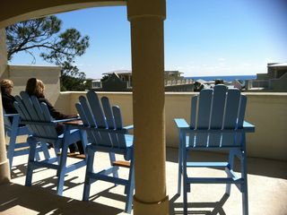 Dune Allen Beach townhome rental - Enjoy your Private Rooftop deck & View of the gulf in your comfy Captains Chair