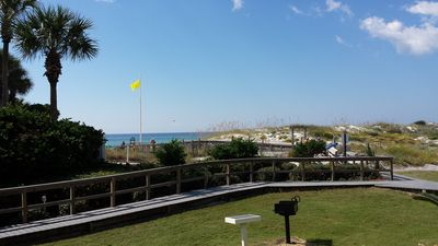 Yes, this is the actual view from the condo patio & kitchen window to the Gulf!!