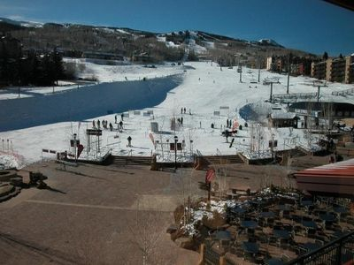Snowmass Base Village view when coming out of building in the winter
