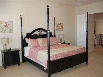 King Master Bedroom. Balcony. Walk in closet, pilllowtop mattress, sitting area