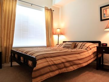 Second bedroom with queen platform bed