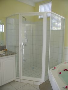 Bathroom has walk-in shower