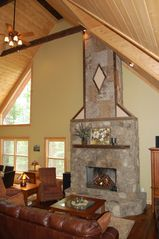 Cashiers house photo - Great Room and Dining Area has double height ceilings