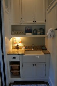 Mudroom sink for the powder room (at left)