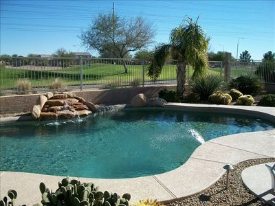 Avondale house rental - Pool view with beautiful landscaping