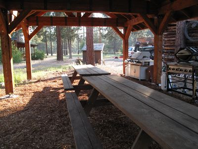 Picnic Style Seating under BBQ Pavilion for 30 Guests