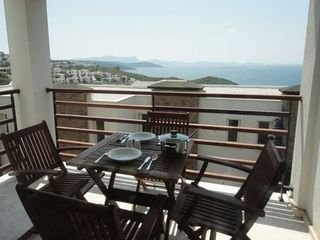 Balcony overlooking the Aegean Sea