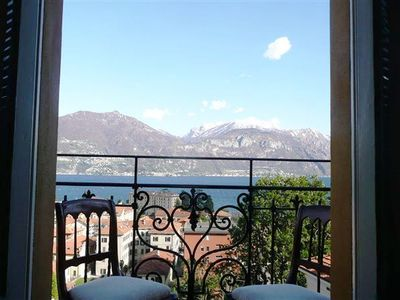 Menaggio apartment rental - French doors open out on to the lakeview balcony at Menaggio Castello Terzo