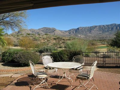 Patio overlooking the golf course and mountains