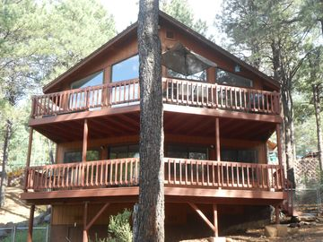 Flagstaff chalet rental - View of our beautiful chalet with wrap around decks for those SF Peak Views!