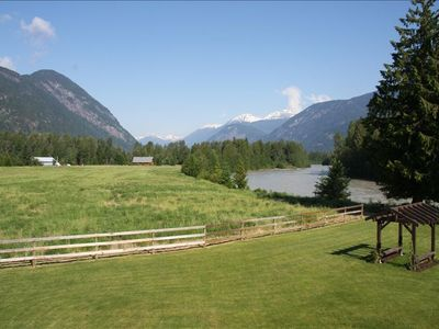 Lillooet River and garden gazebo from master bedroom private deck