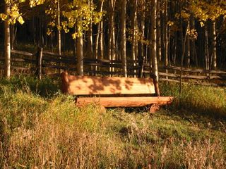 Telluride chateau / country house photo - The sunset view log bench in the woods below the house in this private compound.