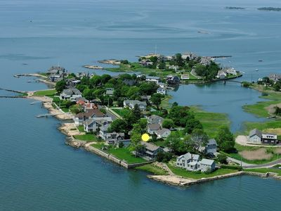 Aerial view of Sachem's Head shows terrific walking, biking & water playground