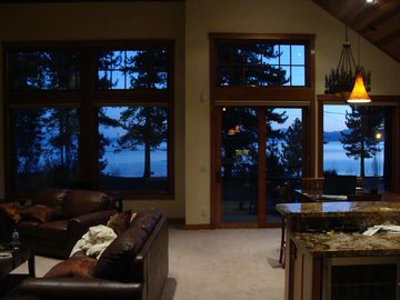 Al Tahoe house rental - Wall To Wall Lake View from Living Area of South Lake Tahoe Home