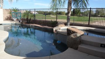 Queen Creek house rental - Heated pebble tec pool with golf course view.