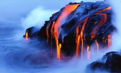 Lava flowing into ocean, twelve miles down Red Road