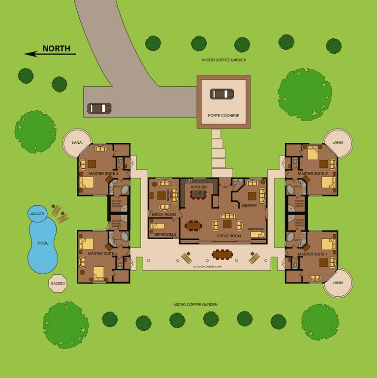 Site Map for the Kona Ocean View Villa