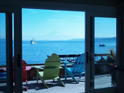 Mt. Rainier and Puget Sound looking out double slider door