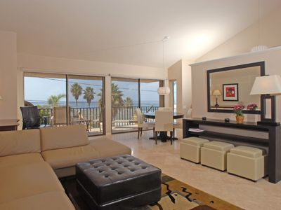 Spacious living room with 180 degree ocean view