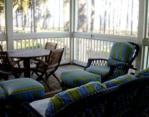Daufuskie Island cottage photo - Entertain or lounge inside oceanfront porch