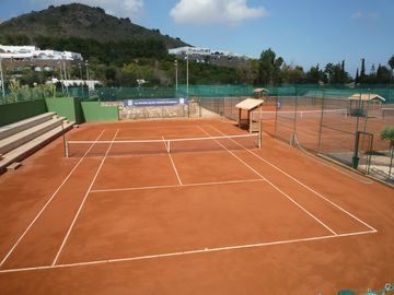 One of the 35 tennis courts