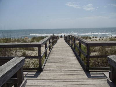 Step out onto the beach via the walking bridge.