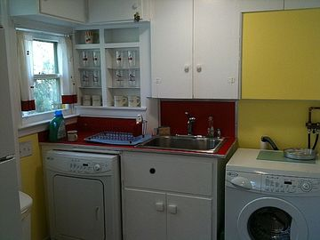 Kitchen sink, washer and dryer