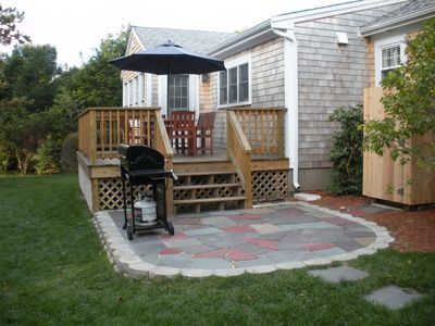 Back deck, stone patio, gas grill & outdoor shower