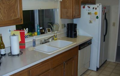 Kitchen window side of kitchen - dishwasher and fridge
