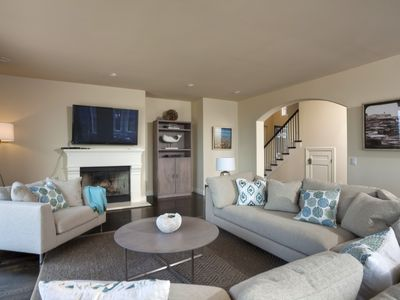 Family room with large TV and DVD player