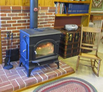 Cozy wood stove for winter evenings.
