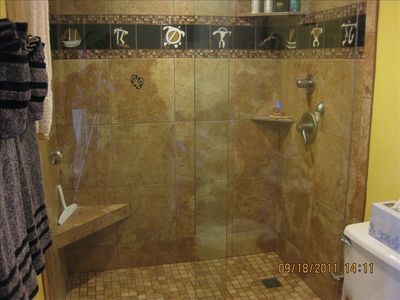Mst. bath with 6-way shower, frameless glass doors and Hawaiian petroglyph tiles