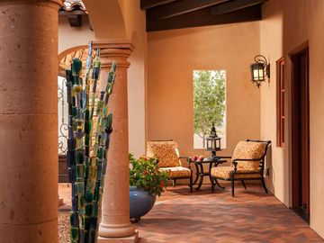 Spanish style courtyard immediately off of the bedroom.
