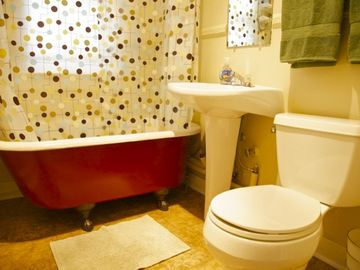 There are two bathrooms--this one with a claw foot bath tub!