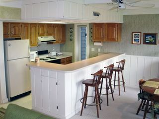 Kitchen with microwave, small appliances and icemaker.