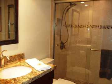 Italian Tile with Travertine - Granite Counter - Upgraded Hand-Held Shower