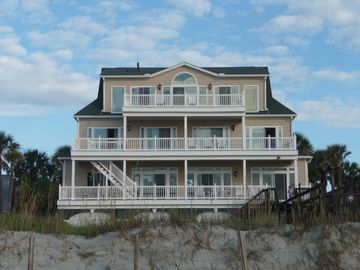 Folly Beach house rental - Ocean View, all bedrooms and Greatroom face the ocean. Beach walkway with shower