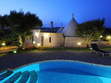 Ostuni villa rental - Trullo Bellissimo at Night with Stunning Private Pool.