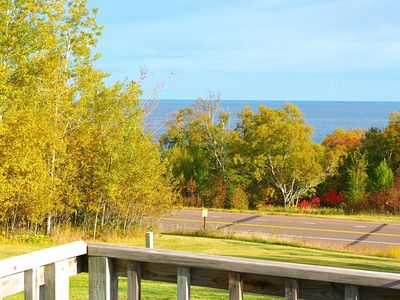 View of Lake Superior from house in fall
