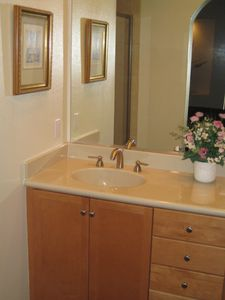 Large Master Bath with double sink. Walk-In shower with bench