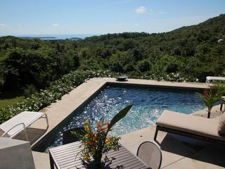 Vieques Island villa photo - pool with jungle and Caribbean view