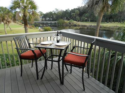 This is the view from our back deck overlooking the 11 mile lagoon and the Fazio golf course.