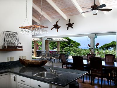 Kona Villa Kitchen with Ocean View