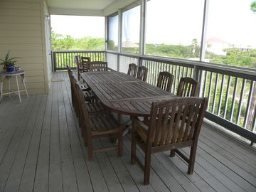 Screened In Upper Deck with Dining Table