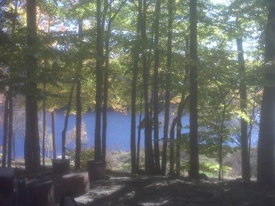 Lake view from side of cottage in autumn.