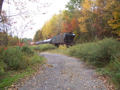 Freight train heading north just past the Lodge.