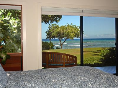 Puako estate rental - Imagine waking up to this view every morning. Kona master bedroom.