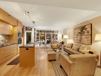 Midtown Manhattan condo rental - Main floor from entrance. Terrace through glass door at rear.