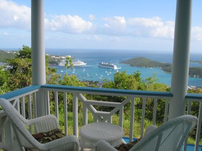 Perched on the private Master Porch, enjoy watching the cruise ships maneuver