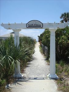 Private beach access for Gulf Place guests - very short walk from your patio